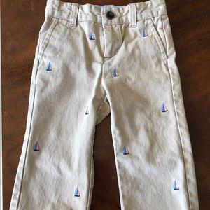 Janie&Jack sz 18/24 m khaki pant sailboat embroid